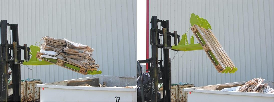 Goubard a mis au point le basculeur de palette BP  pour le vidage de palettes en toute sécurité.