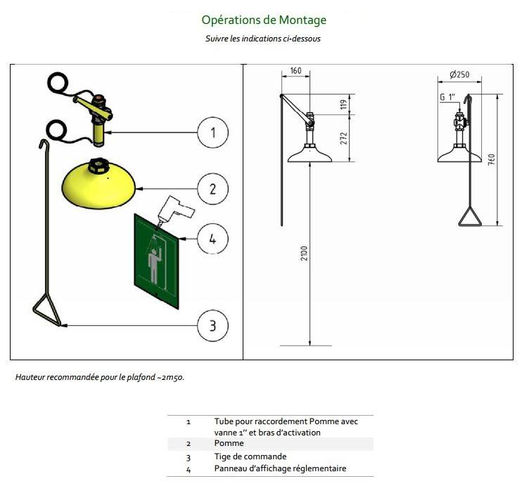 Douche de s curit verticale de plafond 1100 devis for Hauteur plafond reglementaire